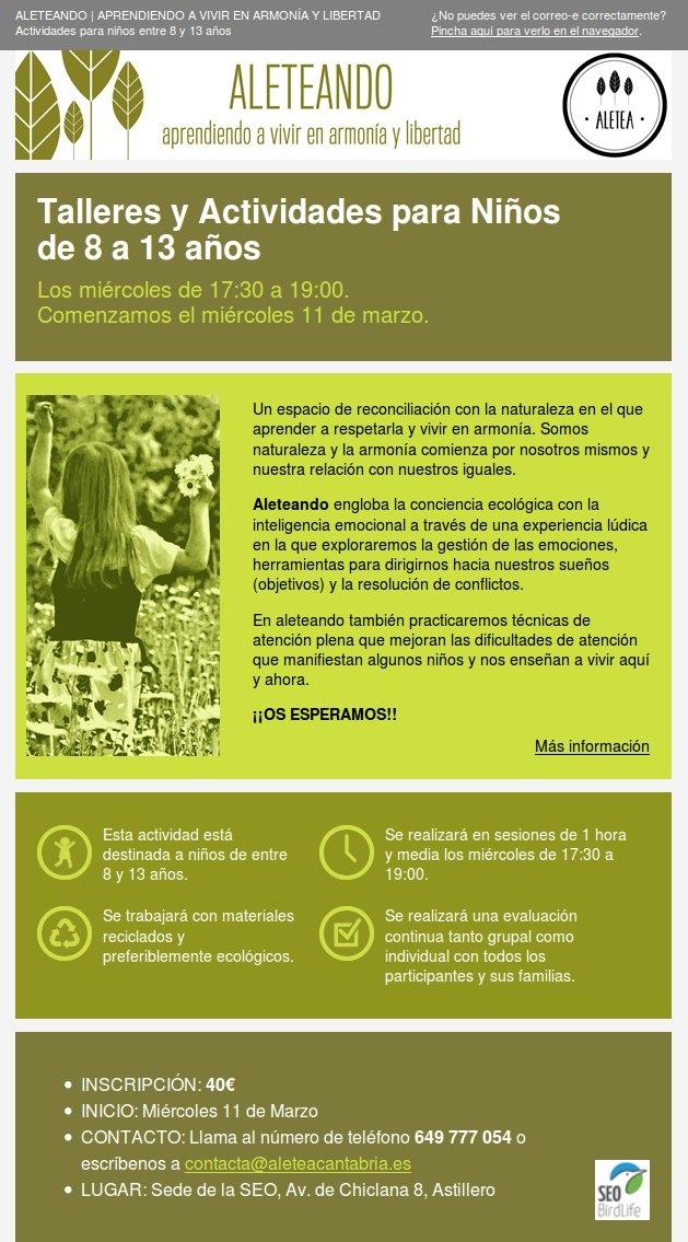 E-mail en html para la campaña Aleteando de Aletea Cantabria.