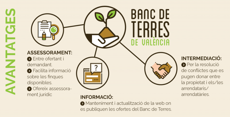 Infografía avantatges del Banc de Terres
