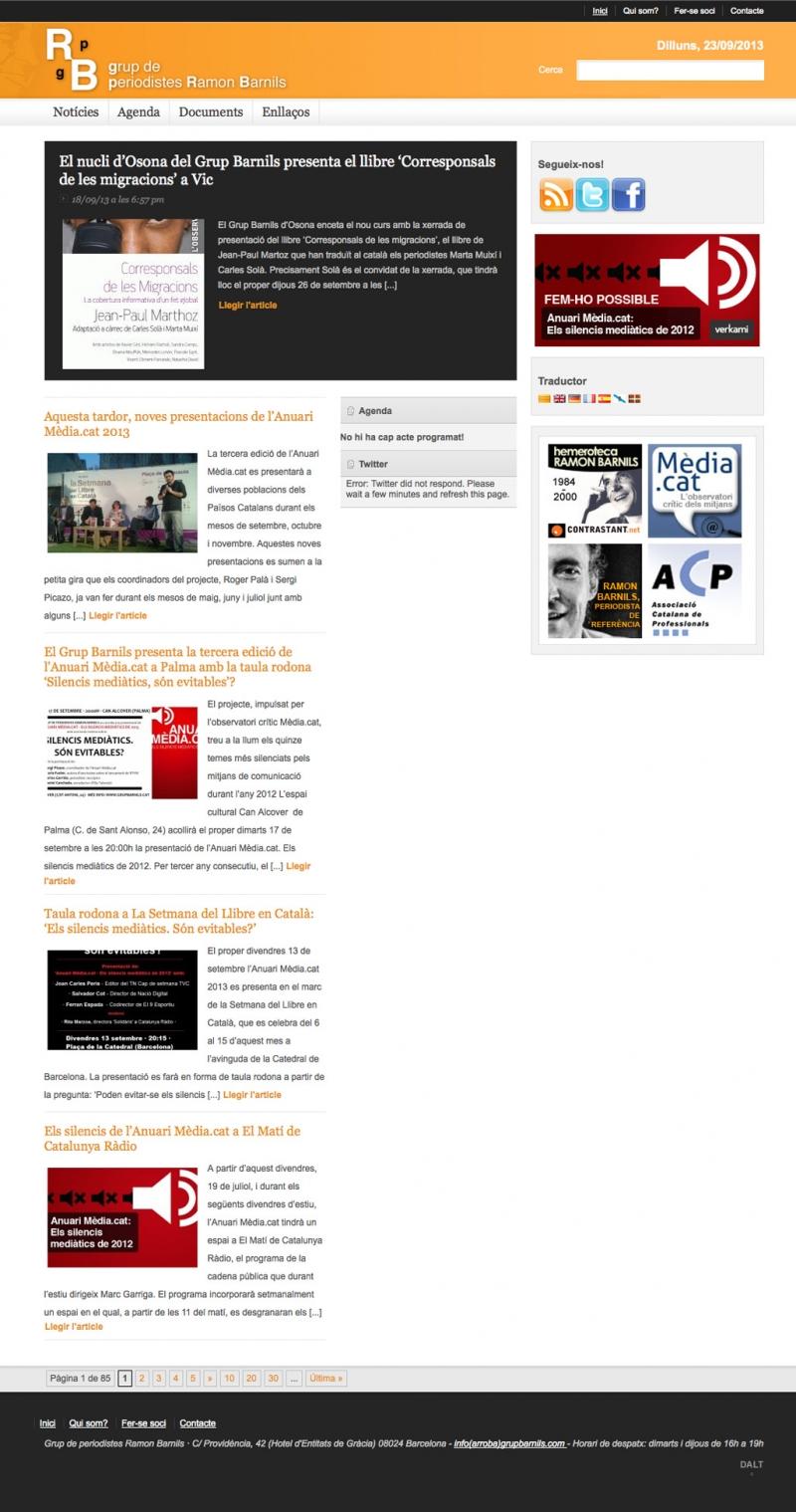 Pantalla inicial de la página web