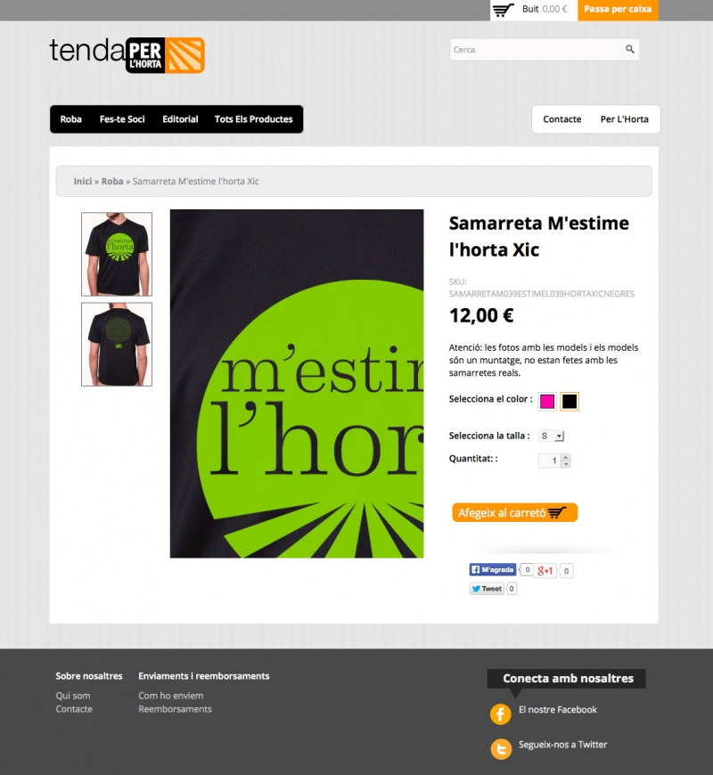 Tenda Per L'Horta -  Detall producte - FabrikaGrafika Disseny Web
