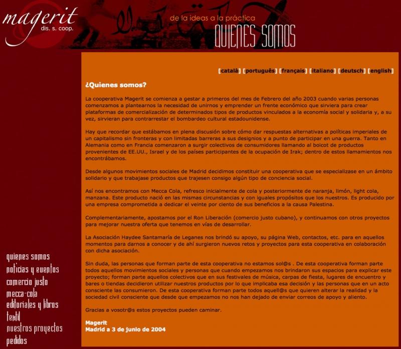 Una de las páginas internas de la página web