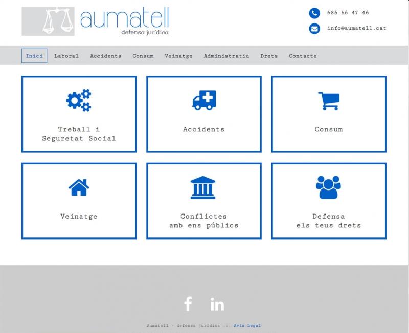 Aumatell - Lloc web, portada - FabrikaGrafika Disseny Web